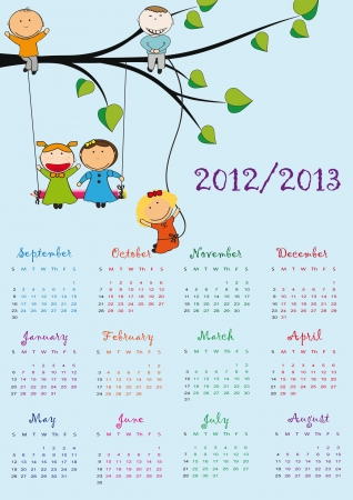 Colorful school calendar on new year school from 2012 to 2013 year Stock Vector - 13614921
