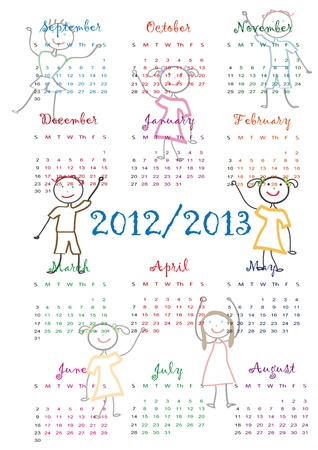 Colorful school calendar on new year school from 2012 to 2013 year Stock Vector - 13614941