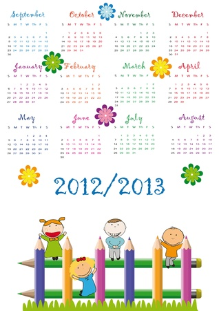 Colorful school calendar on new year school from 2012 to 2013 year Stock Vector - 13614922