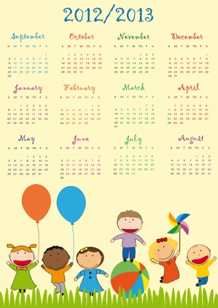 Colorful school calendar on new year school from 2012 to 2013 year Stock Vector - 13614910