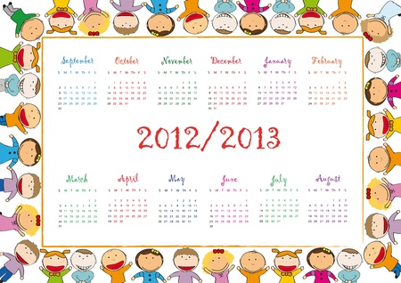 Colorful school calendar on new year school from 2012 to 2013 year Stock Vector - 13614923