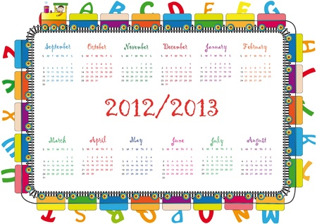 Colorful school calendar on new year school from 2012 to 2013 year Stock Vector - 13636036