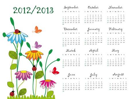Bunte Schule Kalender am Neujahrstag Schule von 2012 bis 2013 year Illustration