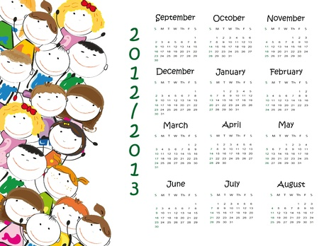 Colorful school calendar on new year school from 2012 to 2013 year Vector