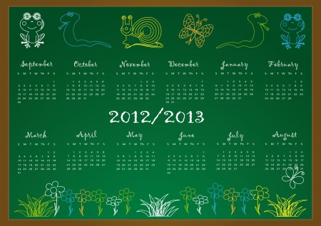 Colorful school calendar on new year school from 2012 to 2013 year Stock Vector - 13636032