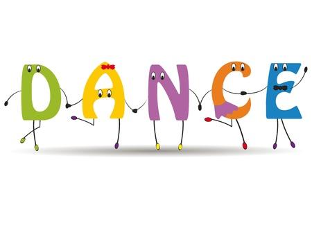 tanzen cartoon: Word-Tanz mit bunten und lustigen Buchstaben