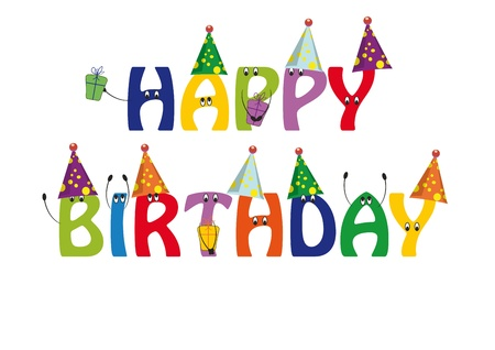 funy: Happy birthday card with colorful and funny letters