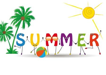 playa caricatura: Palabra de verano con letras coloridas y divertidas Vectores