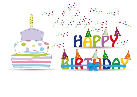 Happy birthday card with colorful and funny letters
