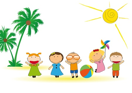 Happy and colorful kids playing on beach Stock Vector - 13767994