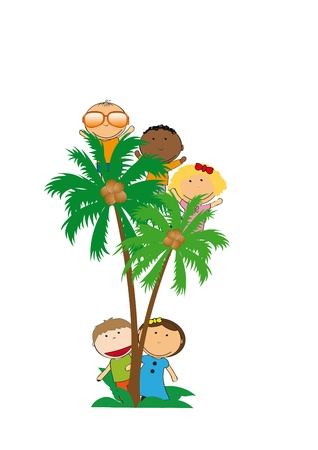 funy: Happy and colorful kids playing on palms