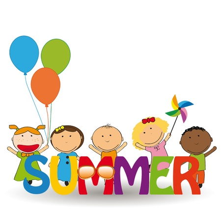 Happy and colorful kids with word summer