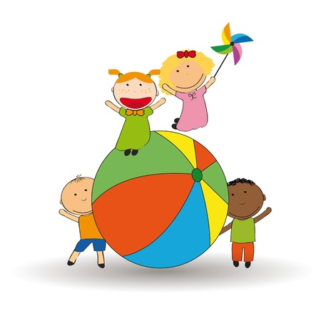 funy: Happy and colorful kids playing with ball Illustration