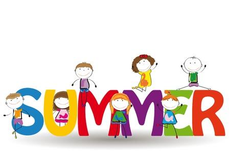 Palabra de verano con los niños coloridos y felices
