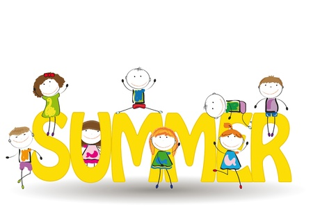 funy: Word summer with colorful and happy kids Illustration