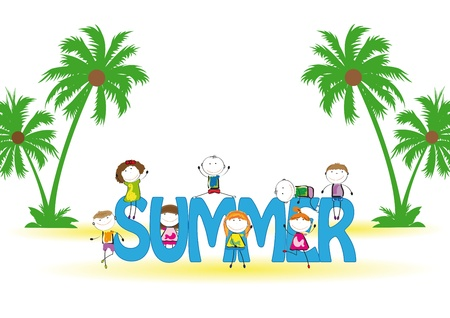 Word summer with colorful and happy kids Vector