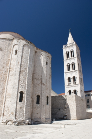 Church and Cathedral in Zadar - blue and white photo