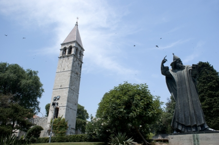 bishop: Church berfly and Statue of Gregory bishop in Split