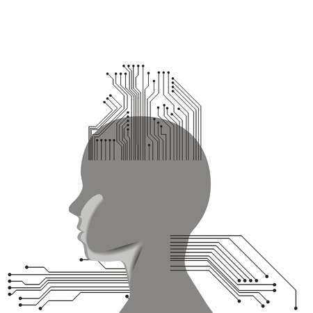 Human head with many chips Stock Vector - 14594134