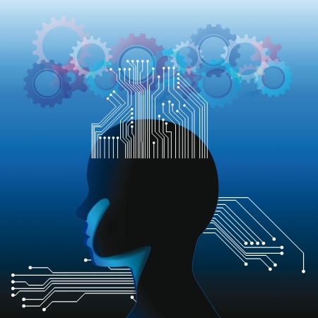 Human head with many chips and gear Vector