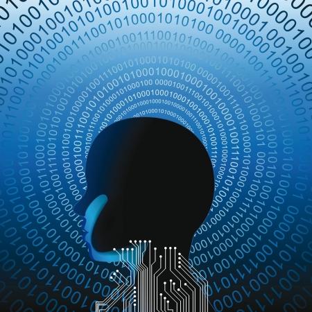 Abstarct cabeza humana con muchos códigos binnary