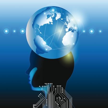 psicologia infantil: Abstarct cabeza humana y el planeta la tecnolog�a