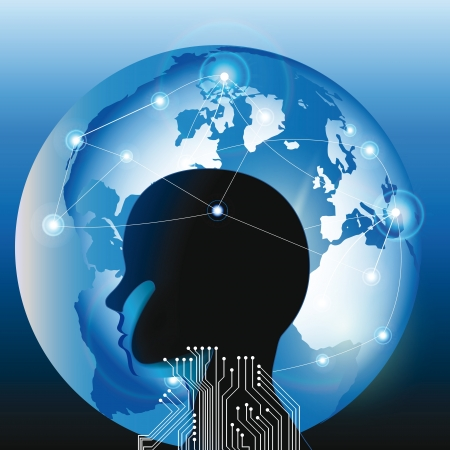 smart thinking: Abstarct human head and technology planet
