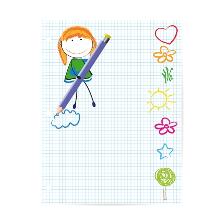 Colorful kids drawing on sheet of paper Vector