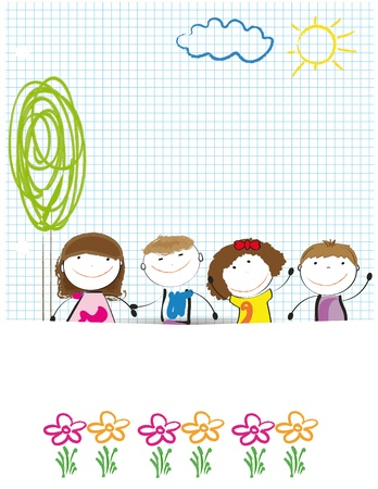flower nursery: Colorful kids background drwing on sheet of paper