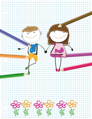kids drawing: Colorful kids drawing on sheet of paper