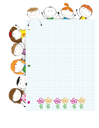 Happy kids with sheet of paper with notebook Stock Vector - 14594158
