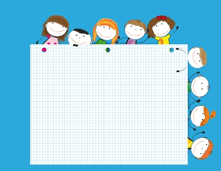 Happy kids with sheet of paper with notebook Vector