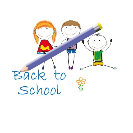 back to school kids: Happy colorful kids blue crayon writtting