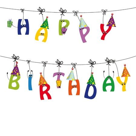 compleanno: Scheda di carino e colorato buon compleanno