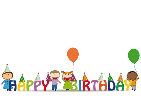 Cute and colorful card on happy birthday Stock Vector - 14594143