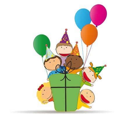 ni�o dibujo animado: Tarjeta linda y colorida en el cumplea�os feliz