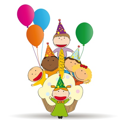 Cute and colorful card on happy birthday Illustration