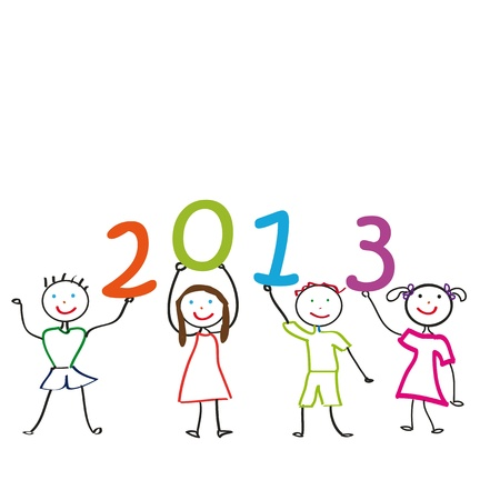 Cute card on New Year 2013 with happy kids Stock Vector - 14594132