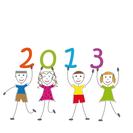 Cute card on New Year 2013 with happy kids Stock Vector - 14594128