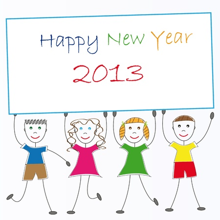 Cute card on New Year 2013 with happy kids Stock Vector - 14594135