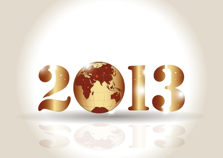 Cute card on New Year 2013 with globe Stock Vector - 14594178