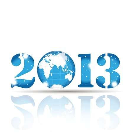 Cute card on New Year 2013 with globe Stock Vector - 14594164