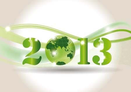 Cute card on New Year 2013 with green globe Vector