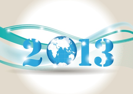 Cute card on New Year 2013 with globe Vector