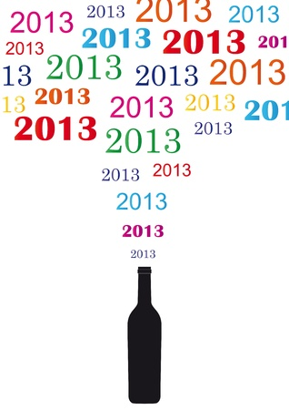 Cooncept card on New Year 2013 with champagne Vector