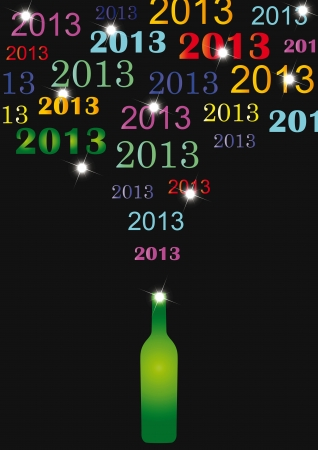 Cooncept card on New Year 2013 with champagne Stock Vector - 14594154