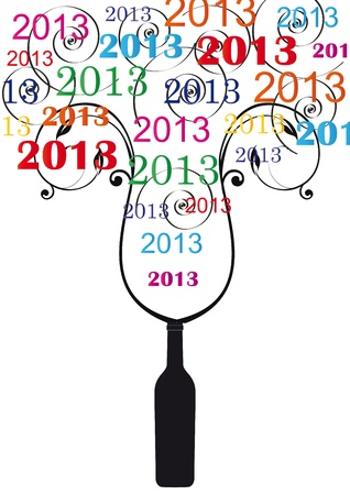 Cooncept card on New Year 2013 with champagne Stock Vector - 14594141