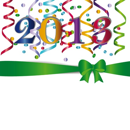 Cute and elegant card on New Year 2013 with ribbons Stock Vector - 14594142