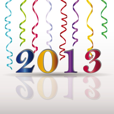 Cute and elegant card on New Year 2013 with ribbons Vector