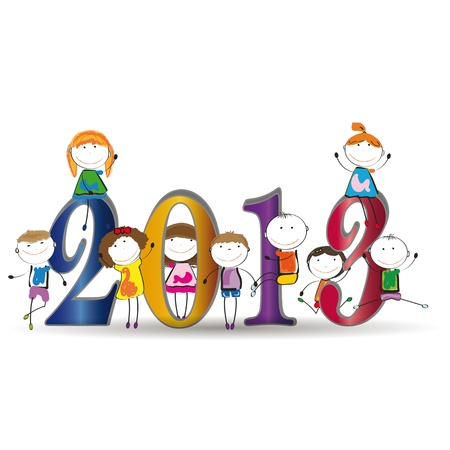 Cute card on New Year 2013 with happy kids